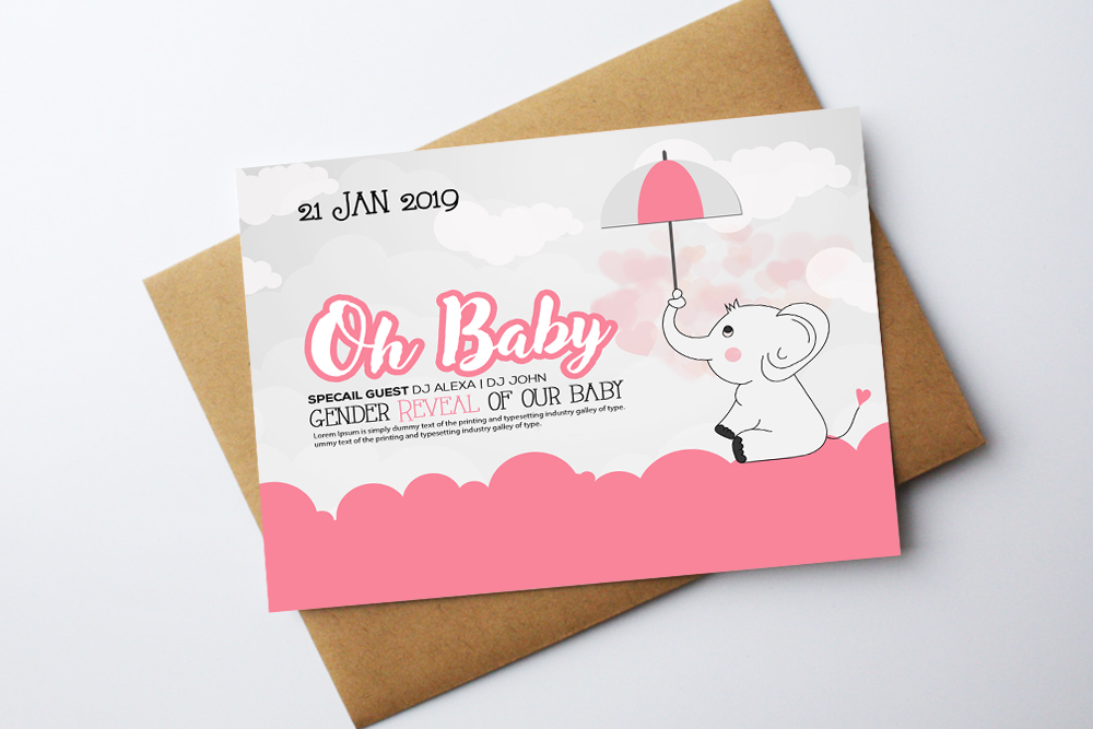 Oh Baby Shower Card Template example image 1