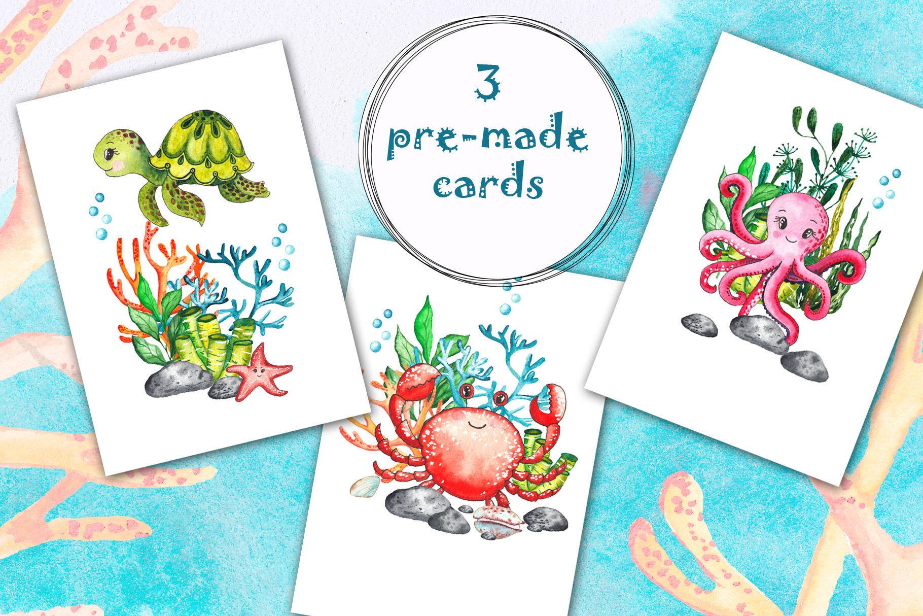 Little OCEAN creatures. Watercolor collection example image 11