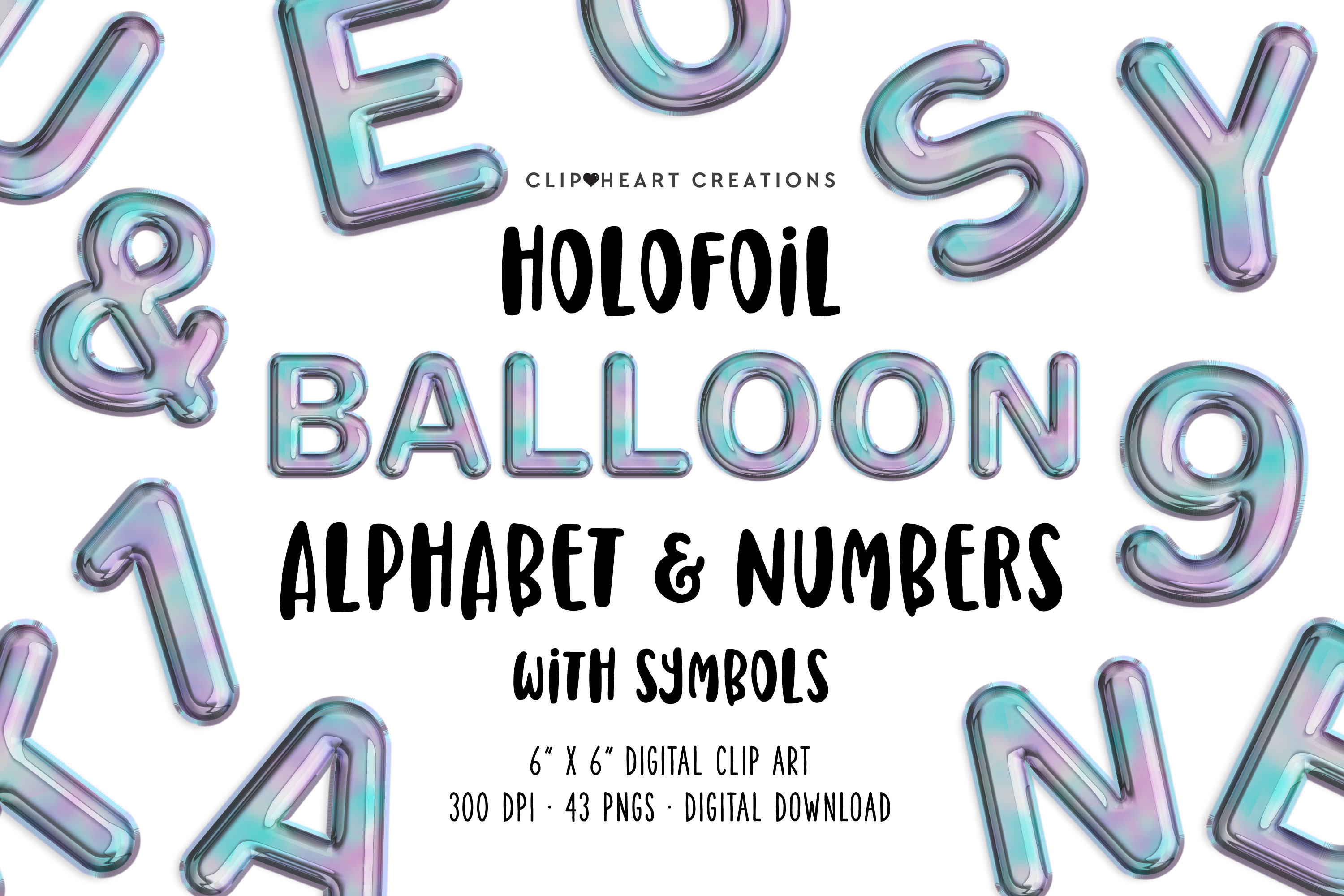 Holographic Foil Balloon Alphabet & Numbers example image 1