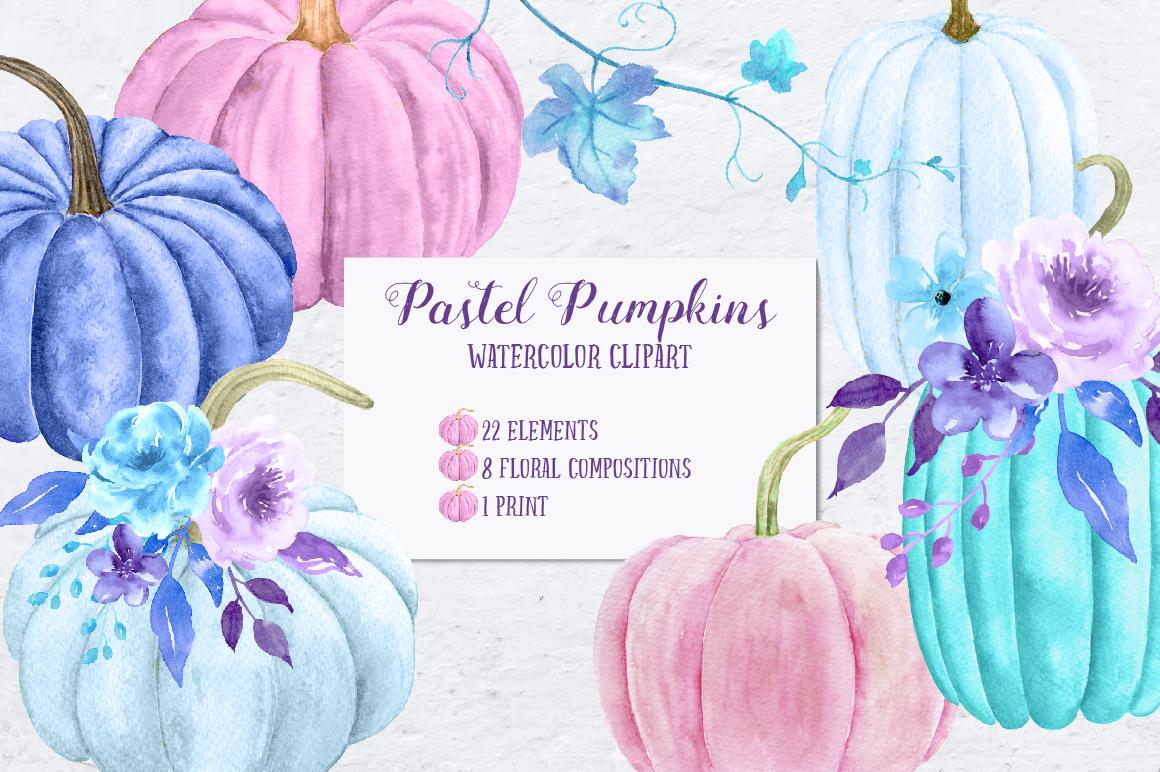 Watercolor Pastel Pumpkins example image 1