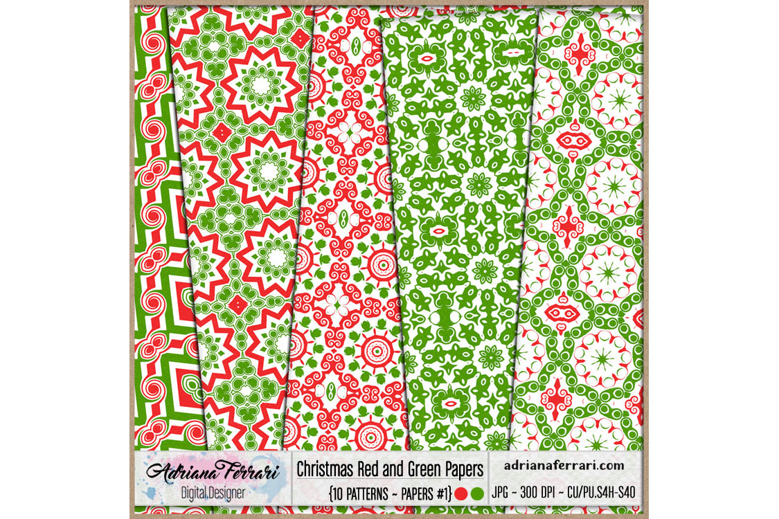 Christmas Red and Green Papers 1 example image 3
