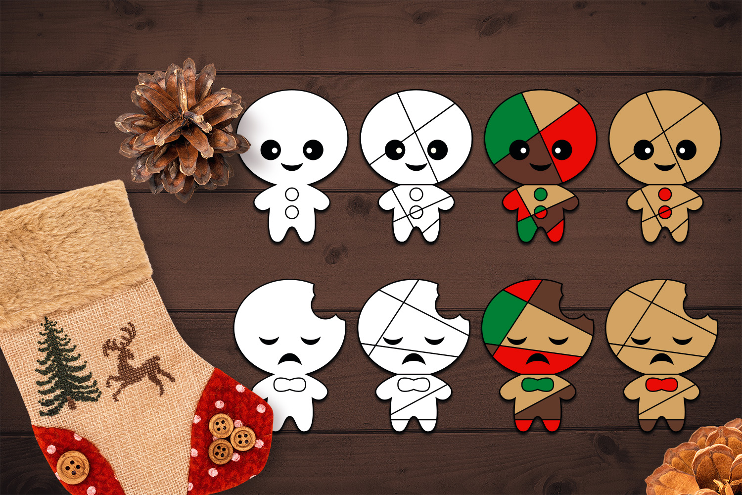 Bundle - Christmas ornaments and Gingerbread Graphics example image 5