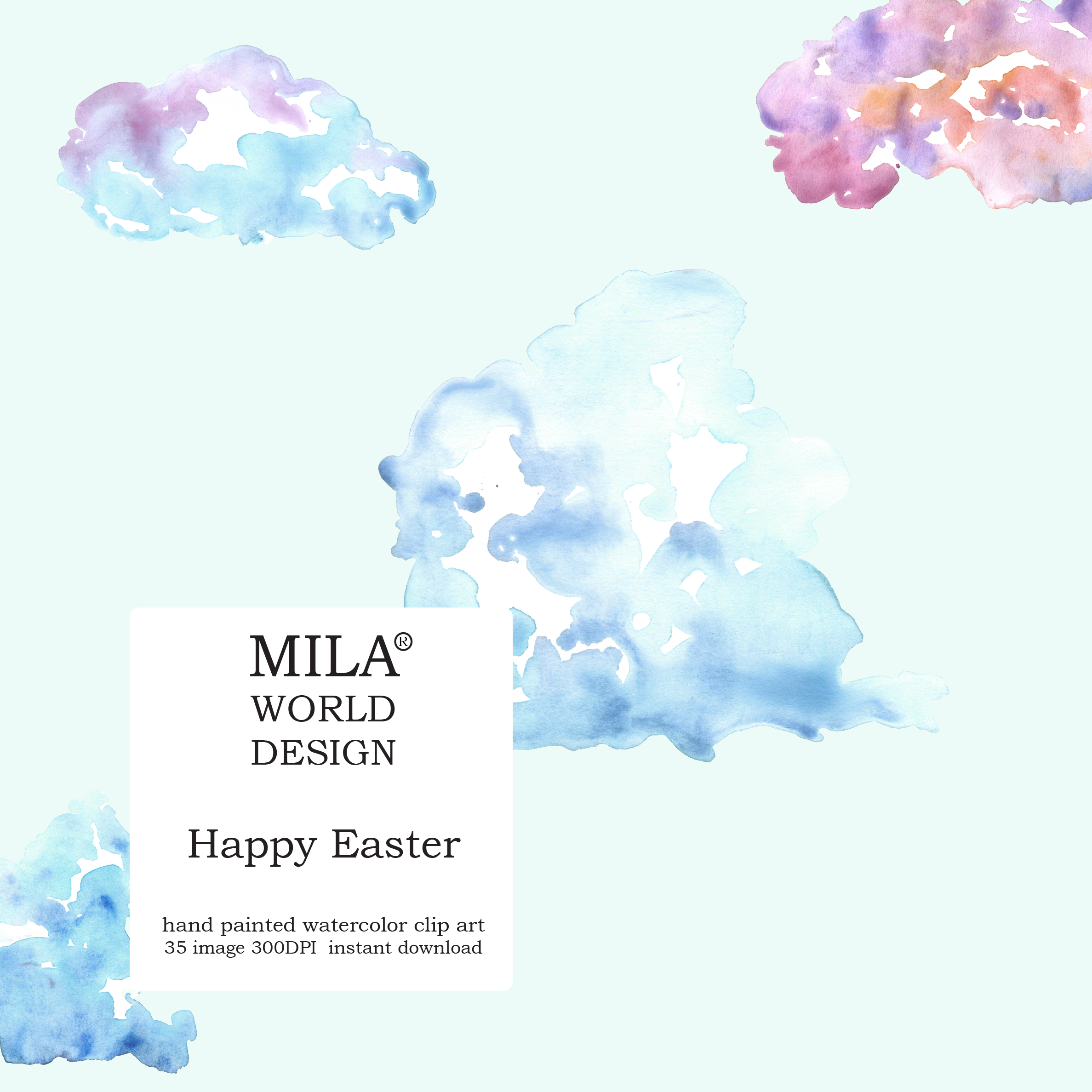 Watercolor Easter clipart example image 7