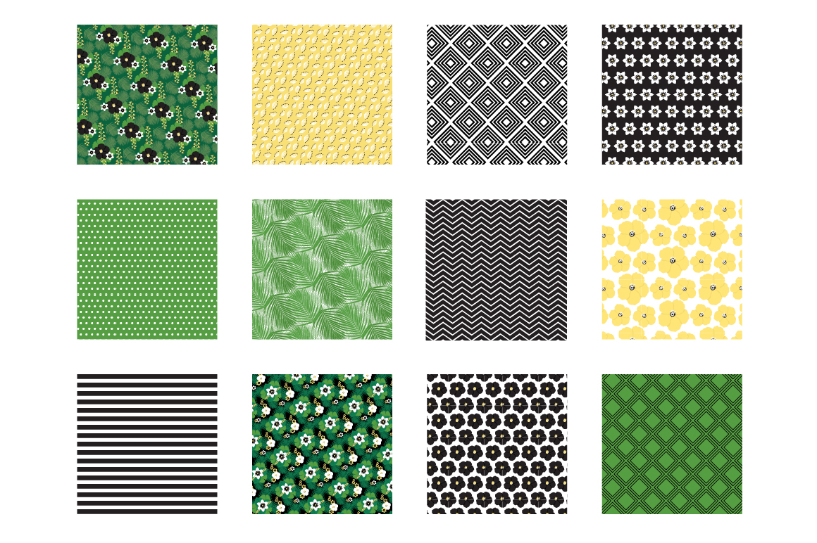 Tropical chic Pattern collection, vector ai, eps and jp example image 2
