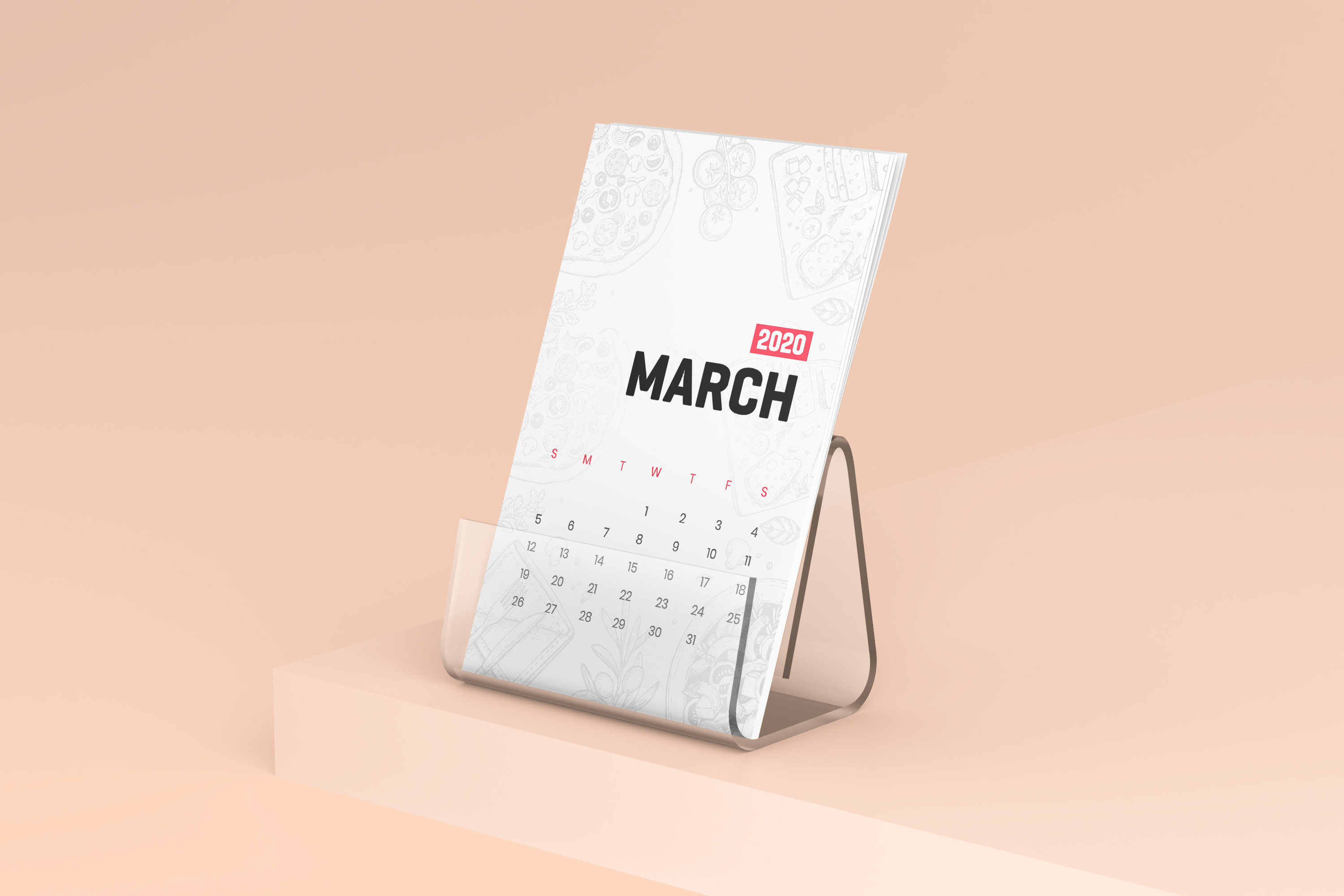 Desk Calendar With Plastic Stand Mockup example image 4