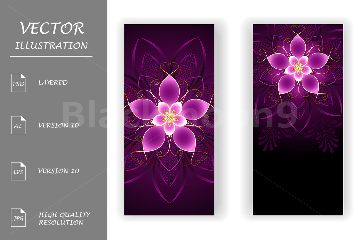 Two Banners with Pink Flower example image 1