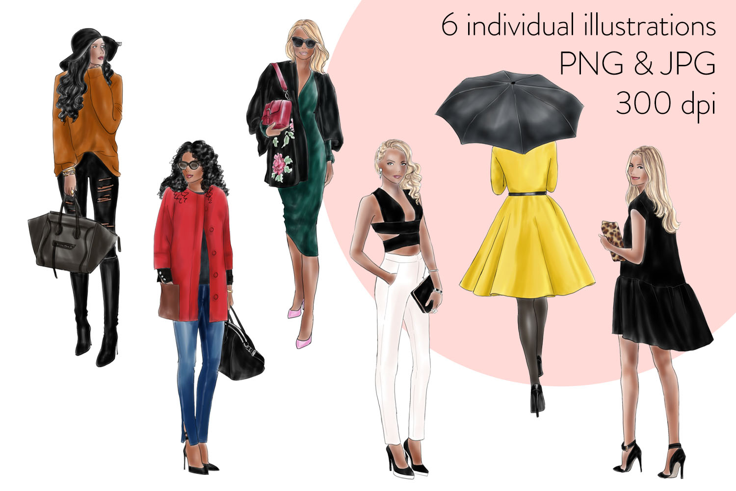 Fashion illustration clipart - fashion Girls Volume 11 - dark skin example image 4