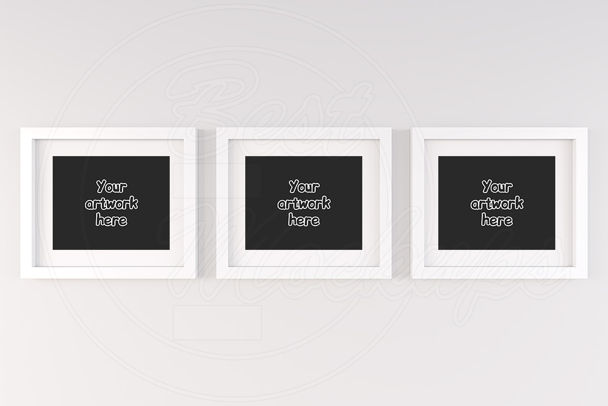 Three white matted frame mockup 8x10 example image 1