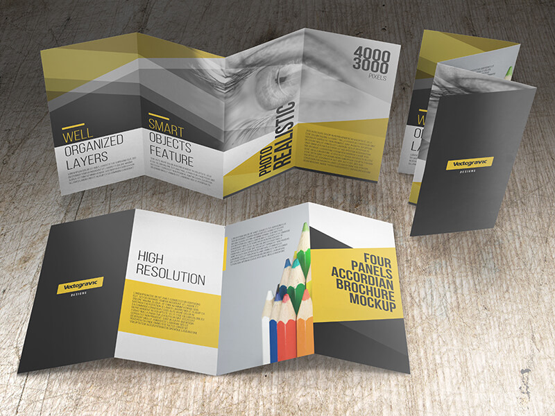 FOUR PANELS ACCORDION BROCHURE MOCKUPS example image 3