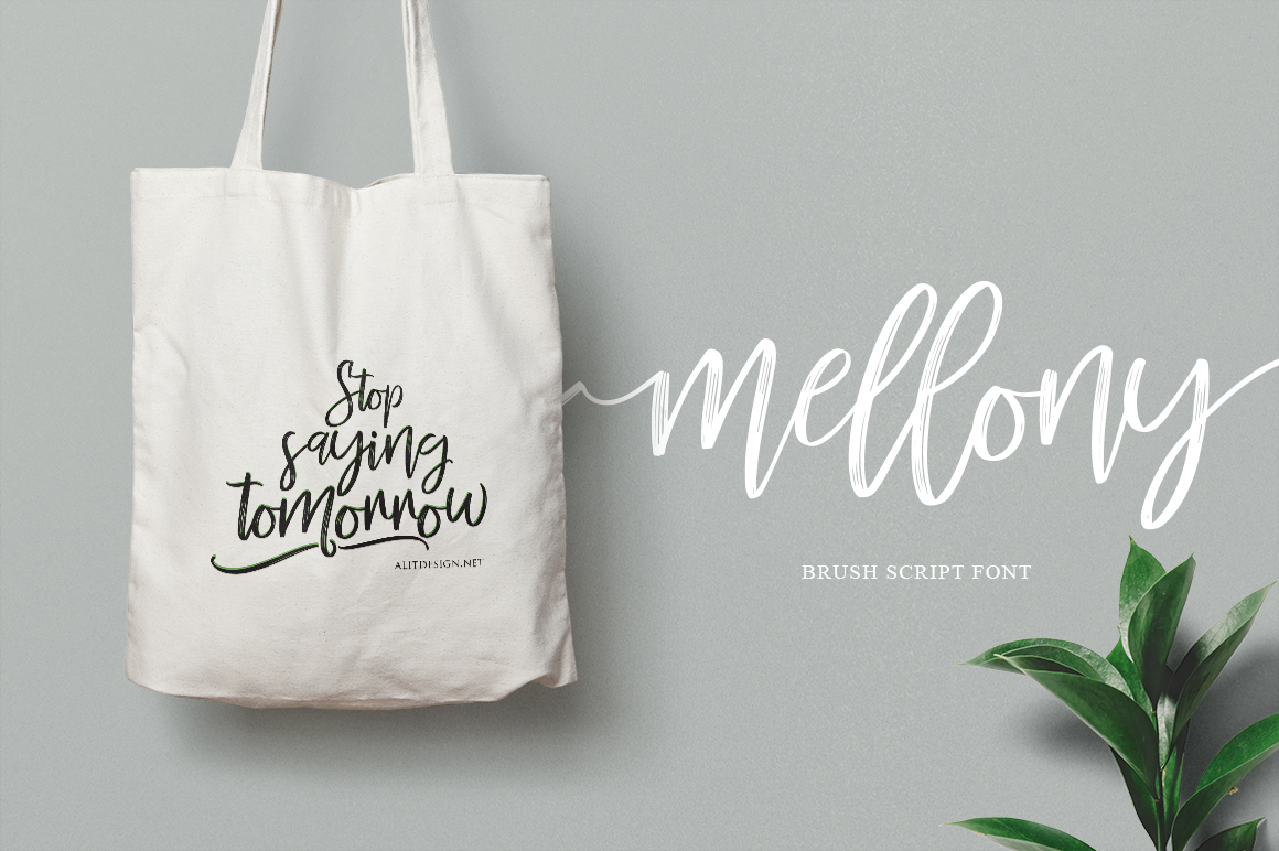 Mellony brush script font example image 8
