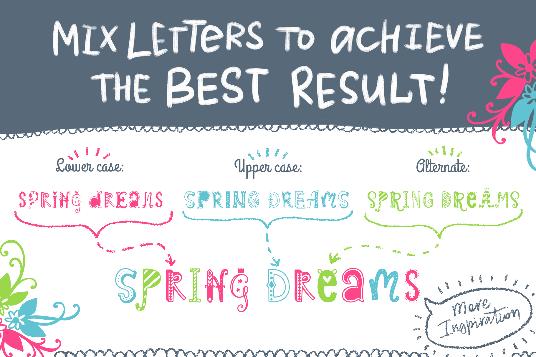 Spring Dreams Typeface with Clipart example image 2