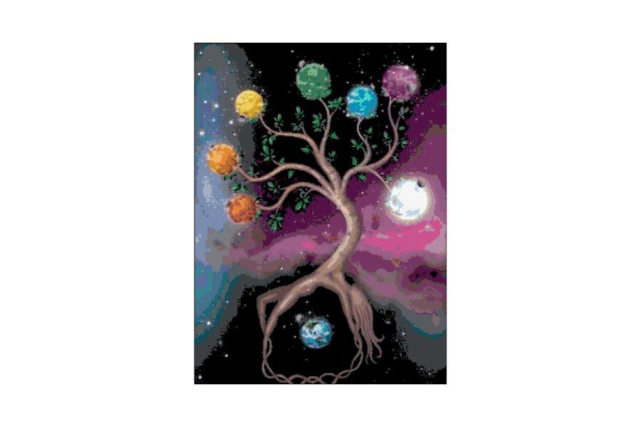 Chakras Tree Cross Stitch Pattern example image 1
