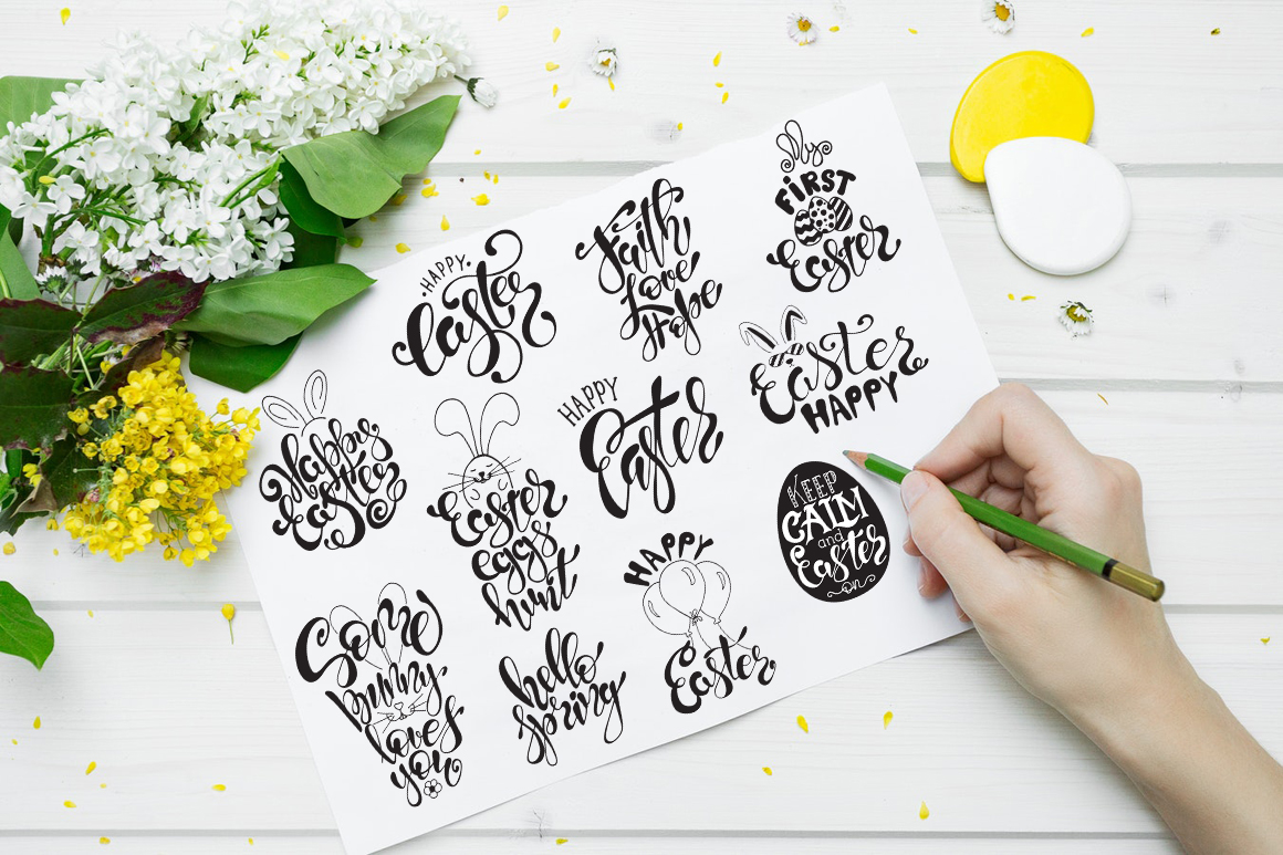 Easter quotes. Spring lettering set example image 3