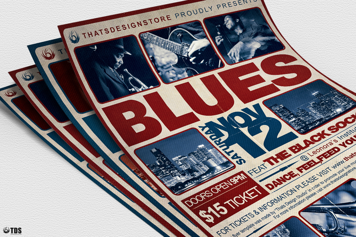 Blues Festival Flyer Template V2 example image 5