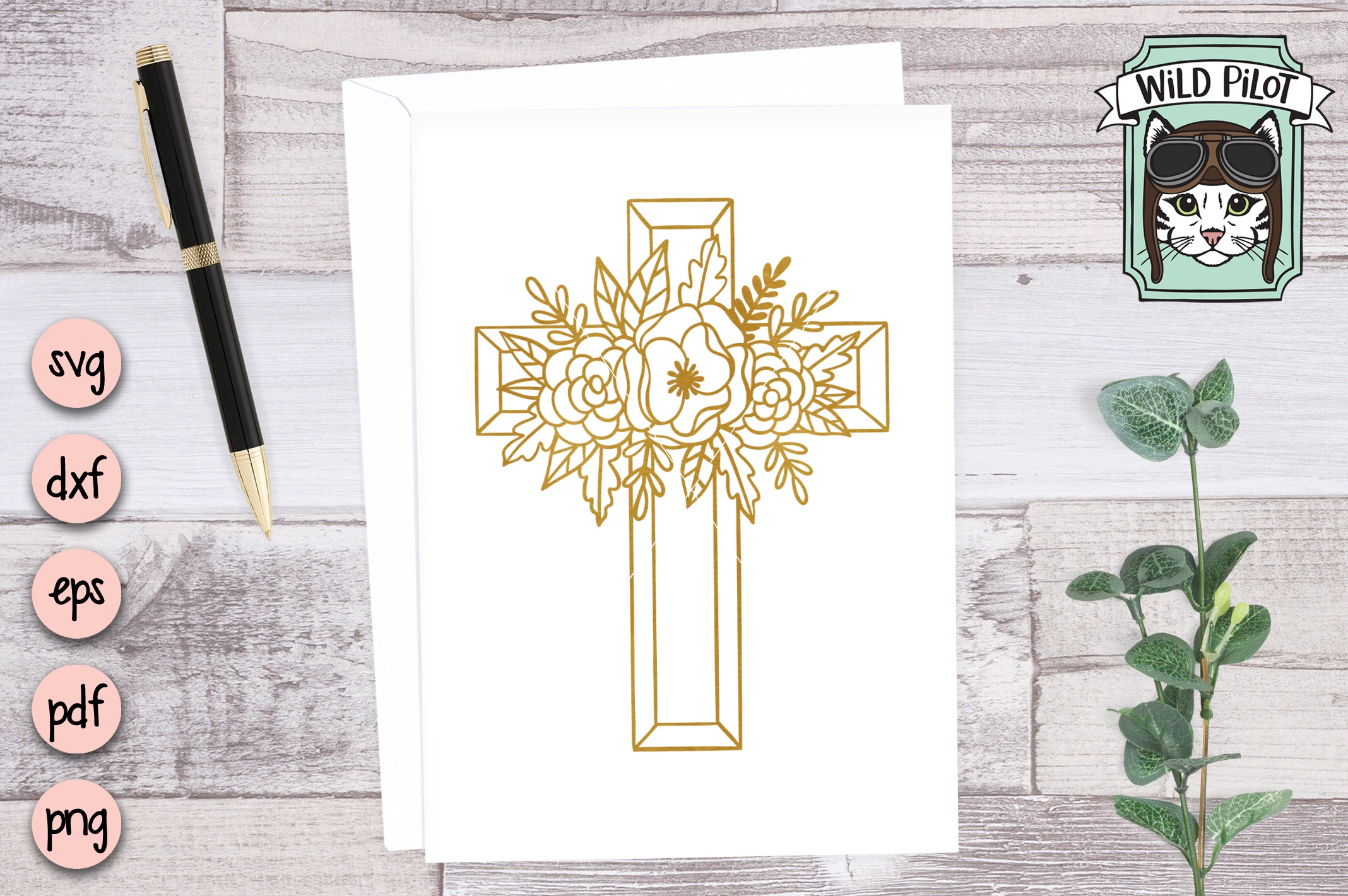 Flower Cross SVG file, Religious Cut File, Christian, Floral example image 2