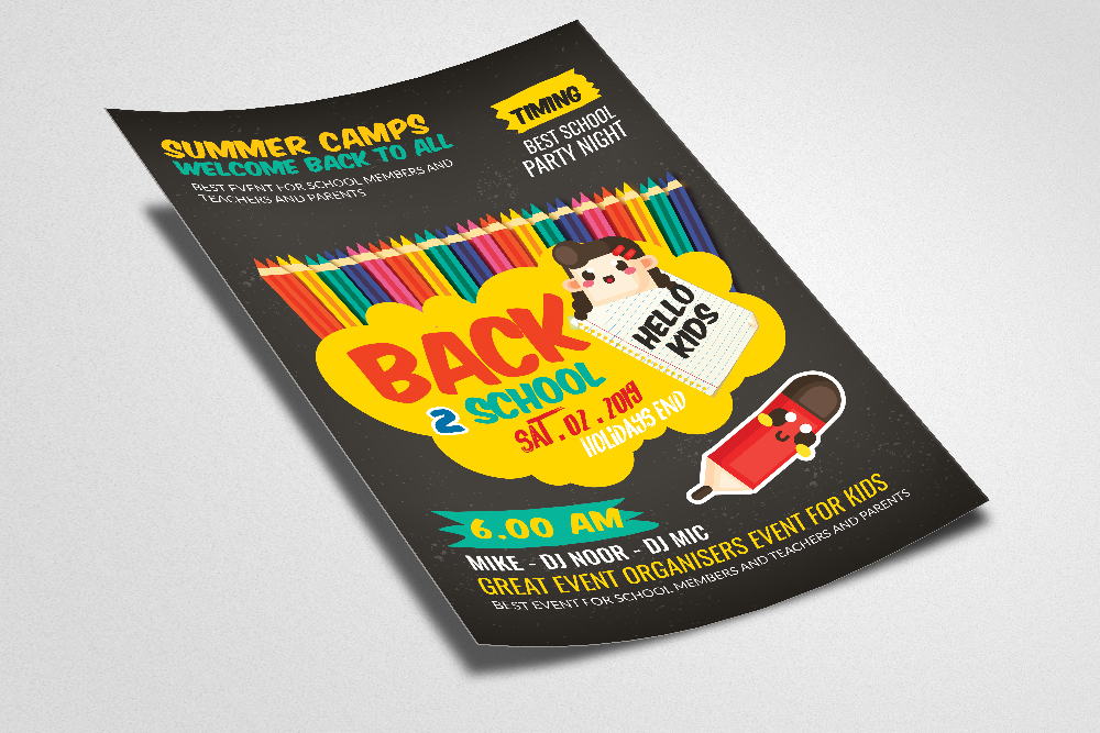 Back To School Party Flyer Template example image 2