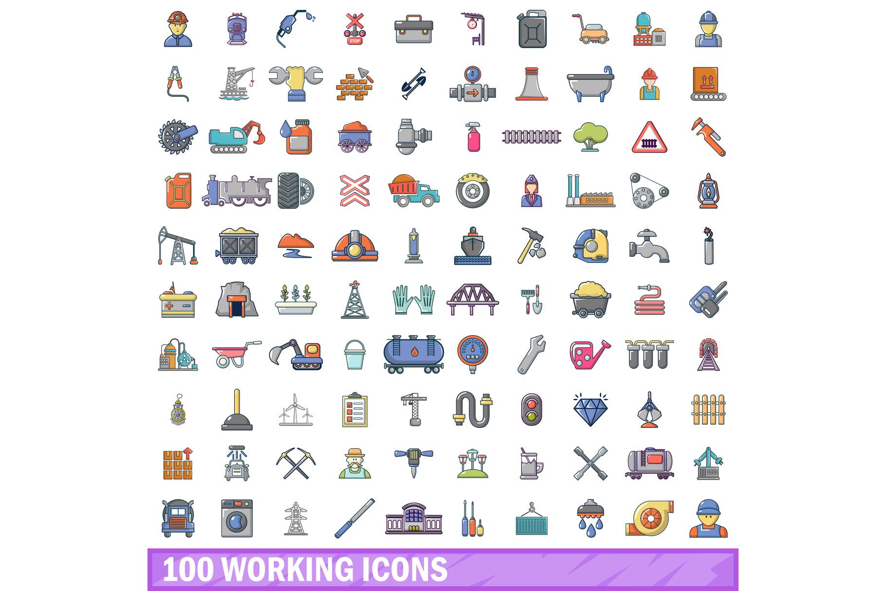 100 working icons set, cartoon style example image 1