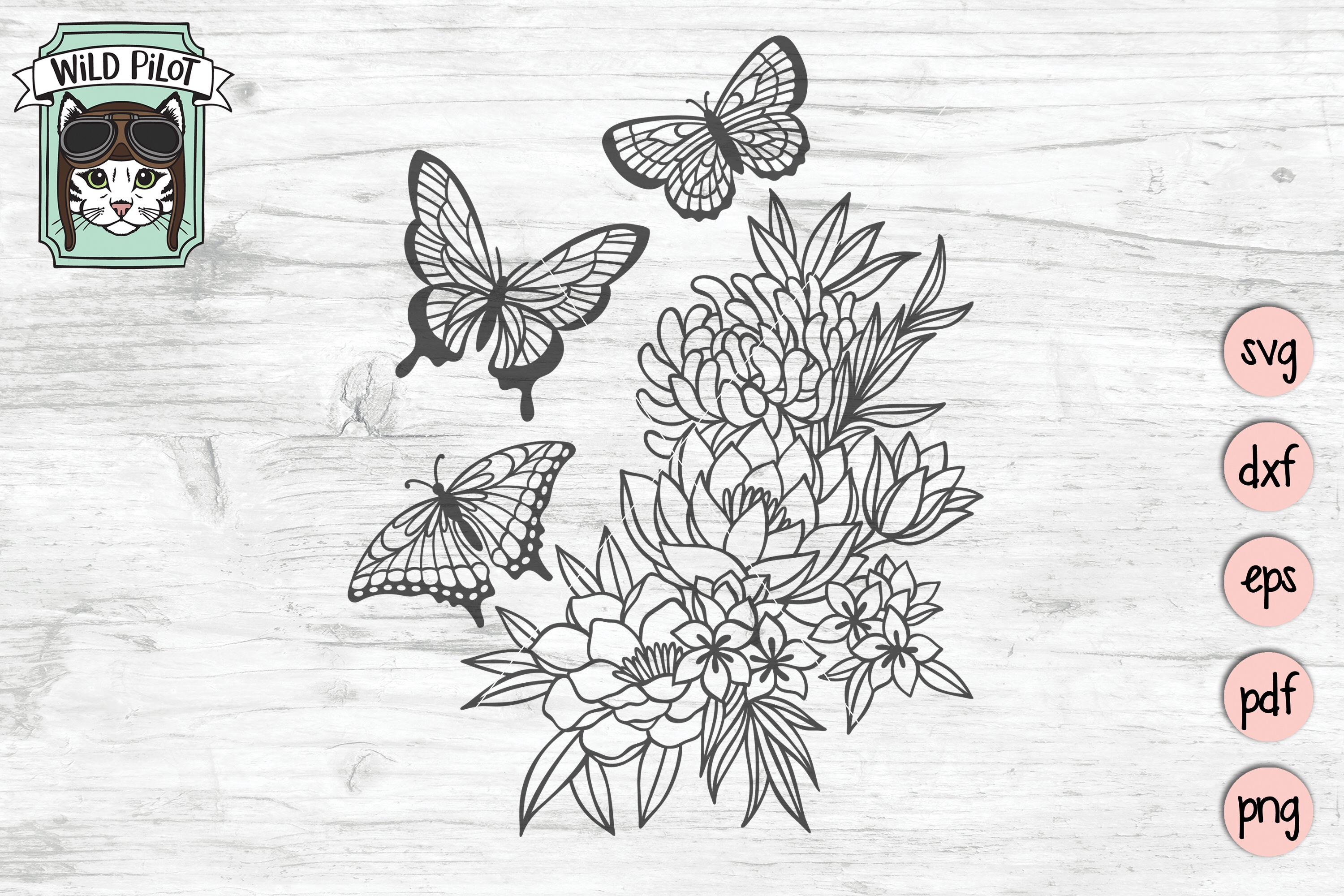 Butterfly SVG files, Butterflies cut file, Flowers, Floral example image 1