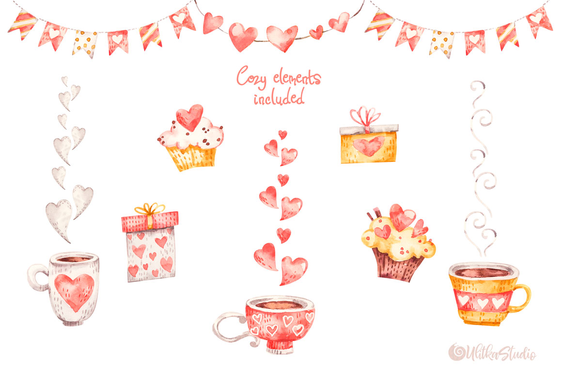 Cozy Valentines Day. Lovely bears watercolor collection example image 10
