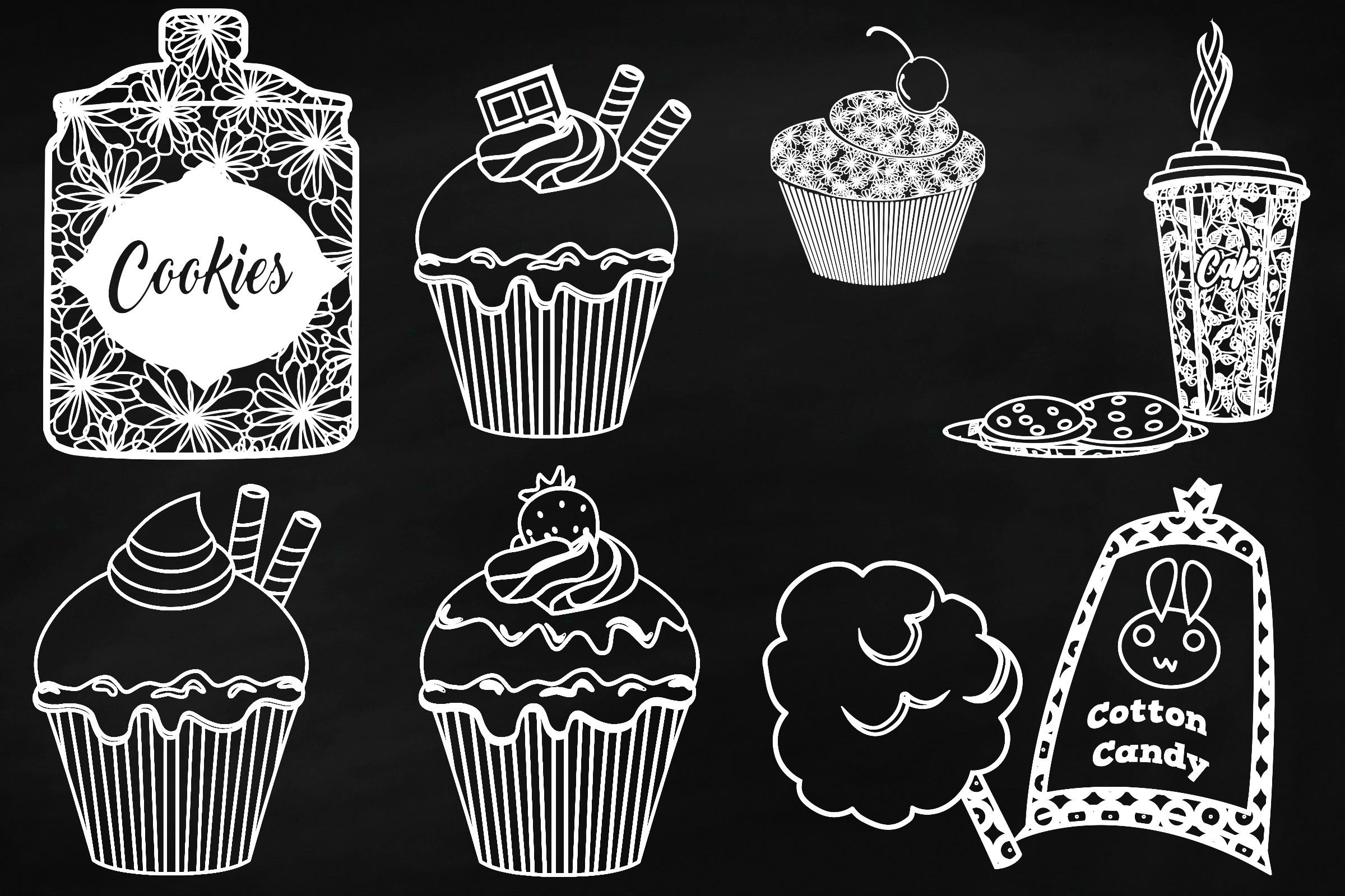 Chalk Sweet Junk Food Doodles Clip Art example image 2