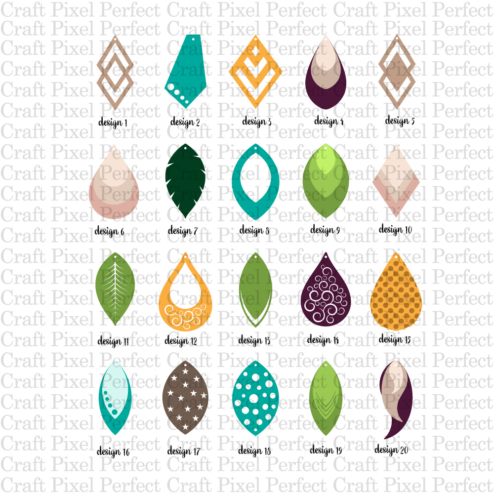 Faux Leather Earrings Bundle SVG, EPS, DXF, PNG