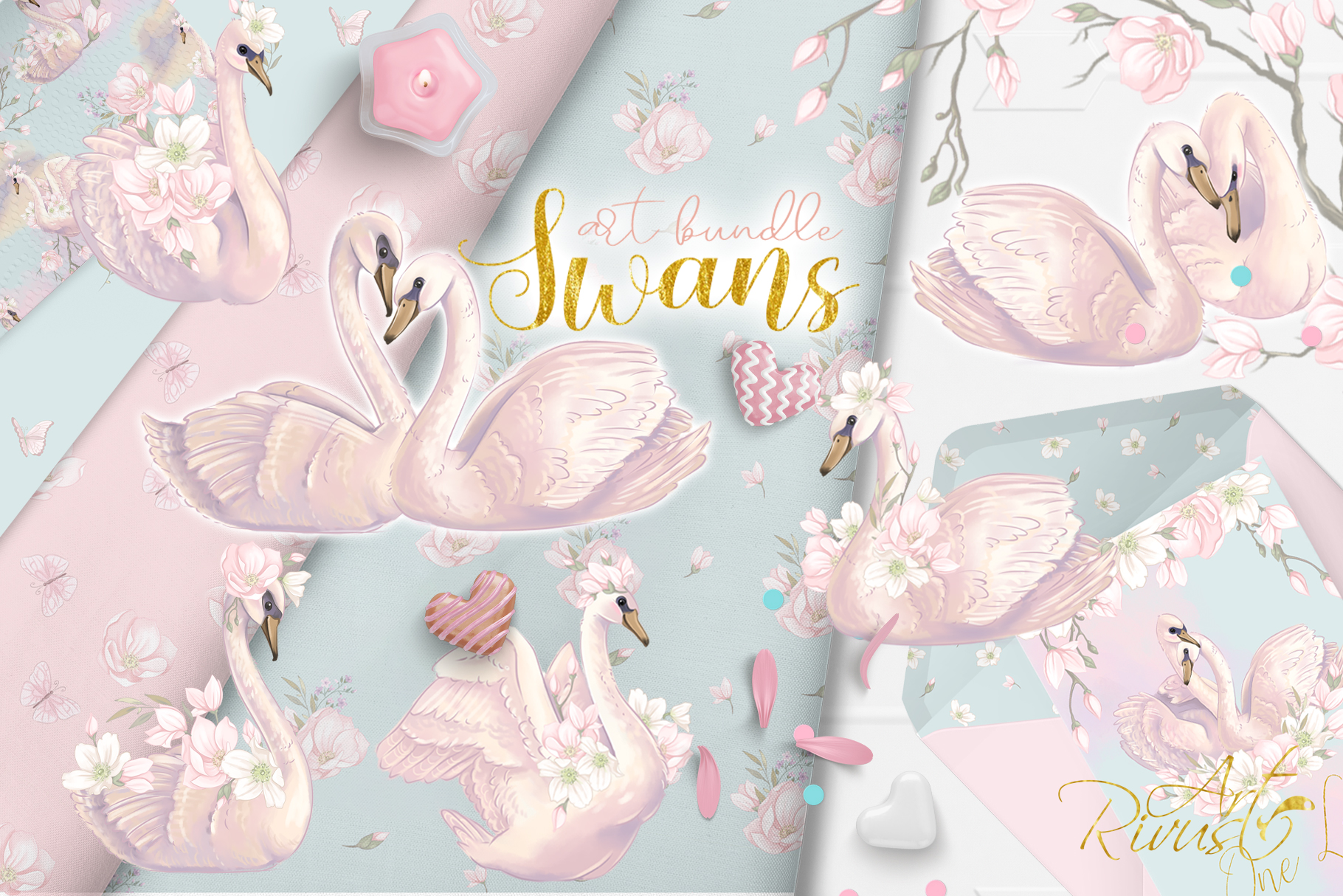 Swans clipart bundle. Wedding and baby shower graphic pack. example image 11