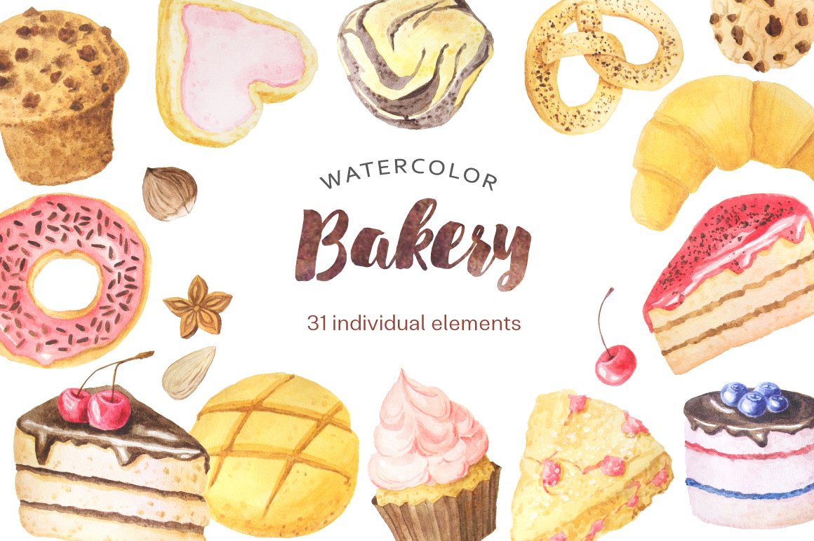 Watercolor Bakery Set example image 1