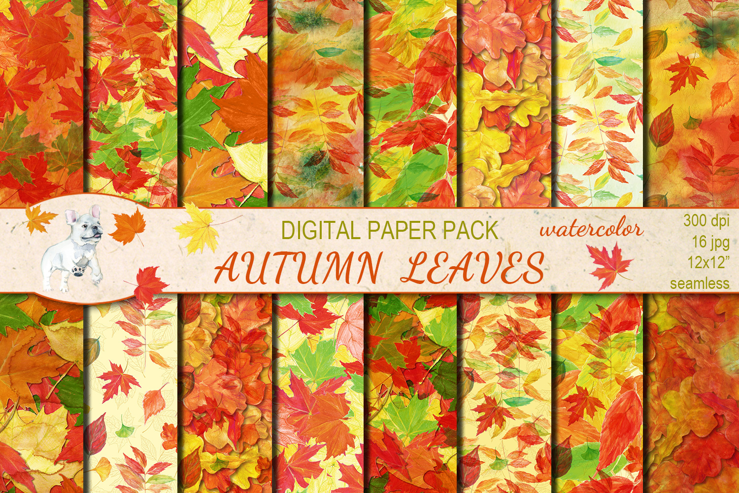 Autumn/ Fall Leaves seamless digital paper pack example image 1