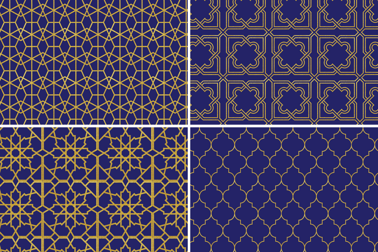 8 Seamless Moroccan Patterns - Gold & Cobalt Blue Set 2 example image 7