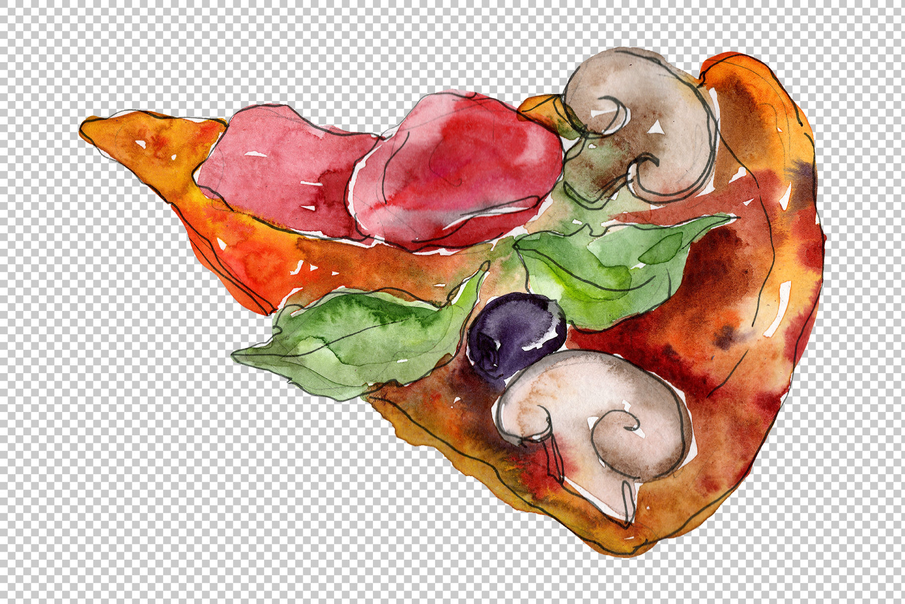 Pizza vegetable Watercolor png example image 7