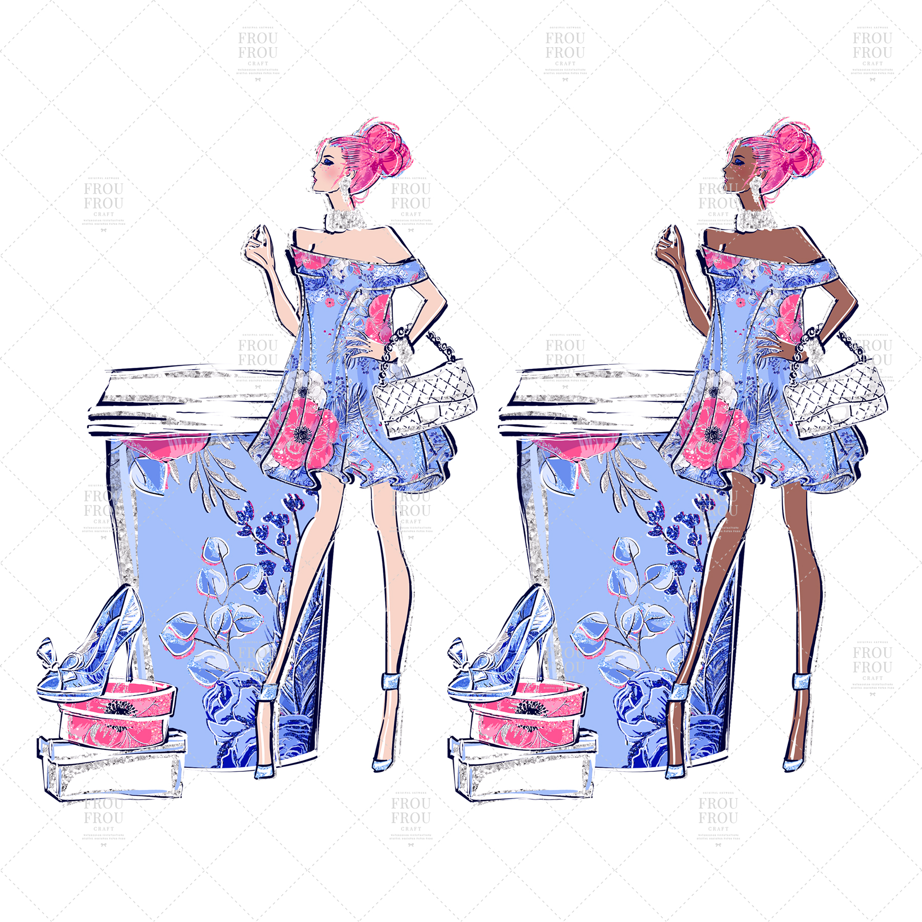 Fashion Girl Shopping Floral Silver Glitter Clip Art example image 5