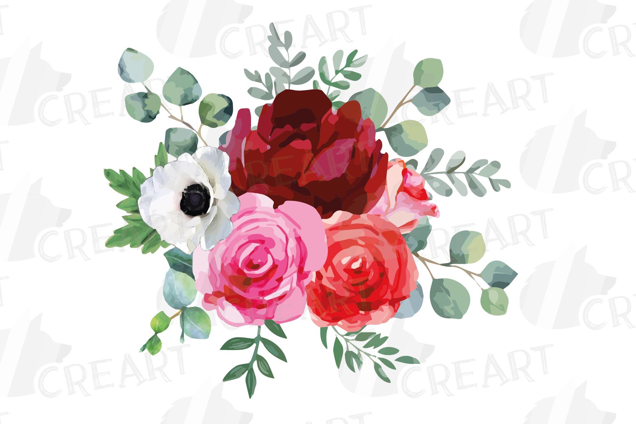 Watercolor elegant floral bouquets, rose, anemone decoration example image 16
