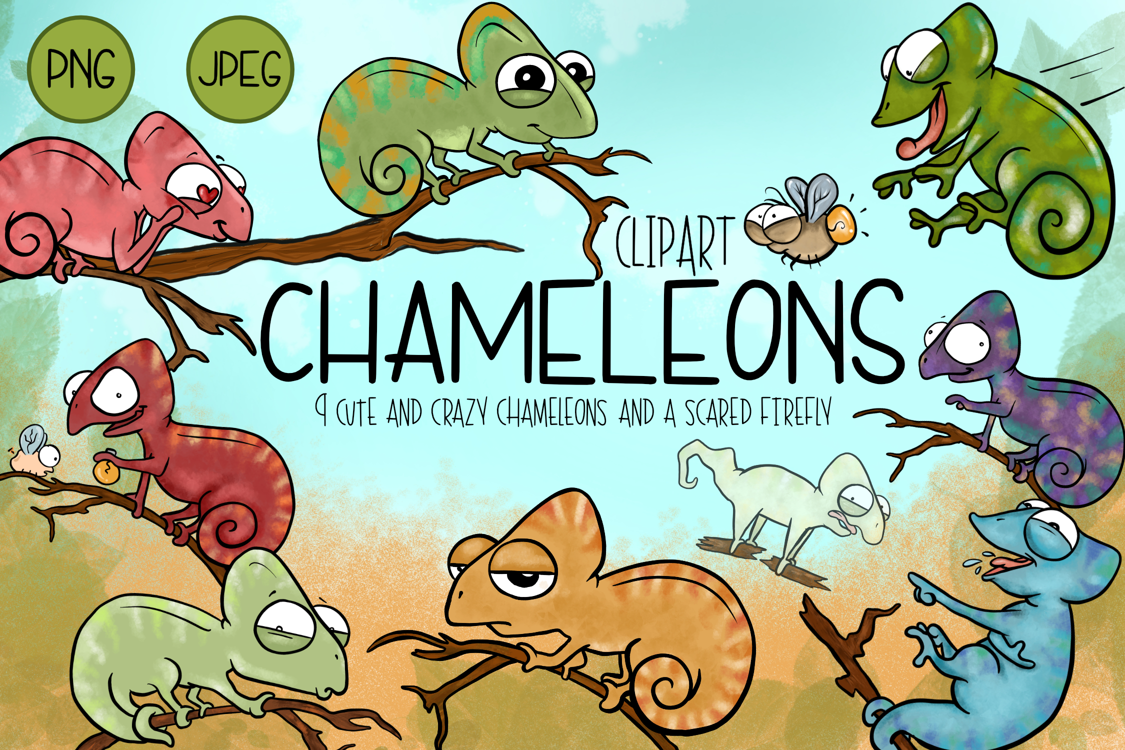 Cute & Crazy Chameleons  Cute Chameleon Clipart   Reptile Cl example image 1