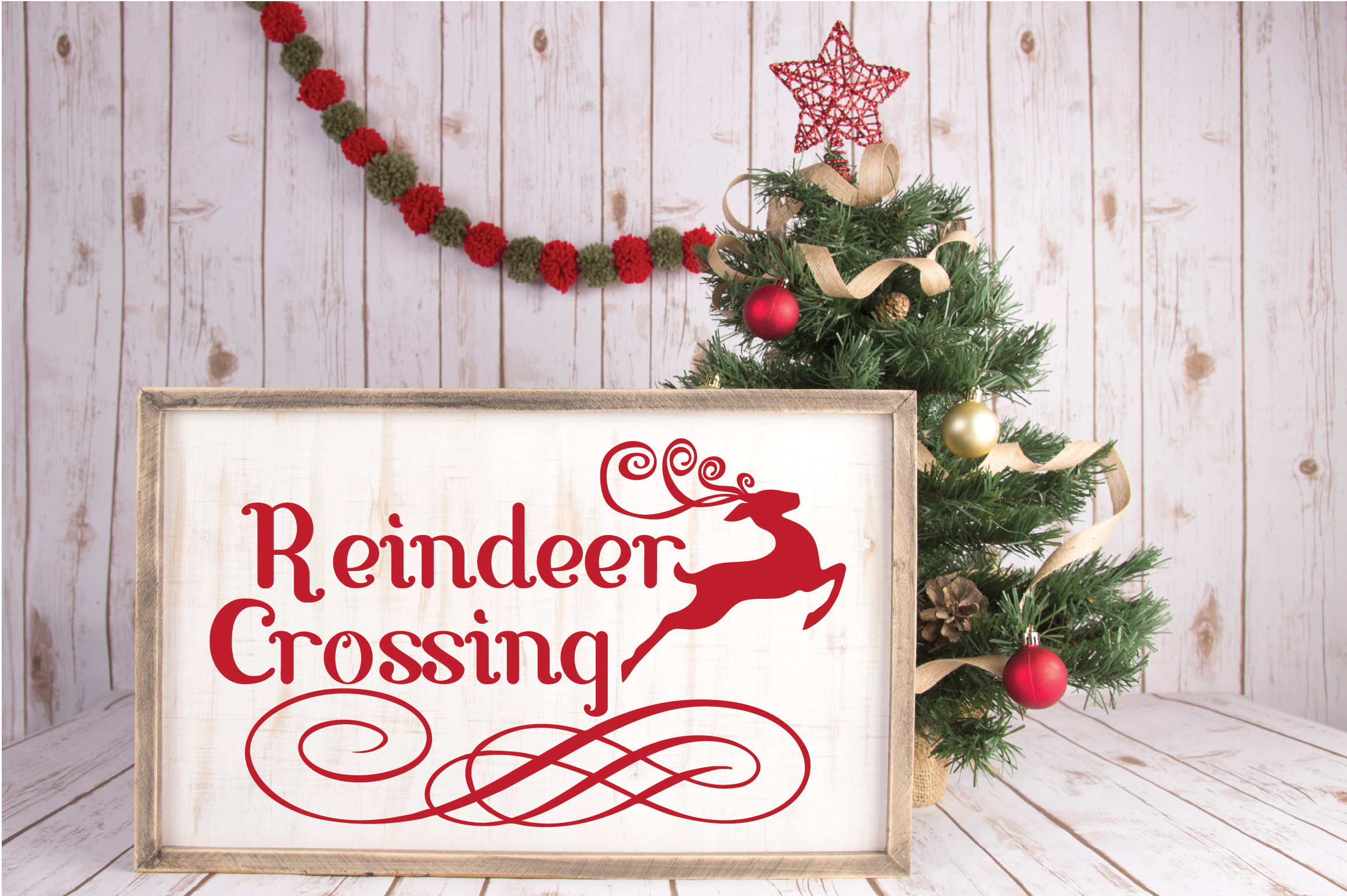 Christmas SVG Cut File - Reindeer Crossing SVG DXF PNG EPS example image 2