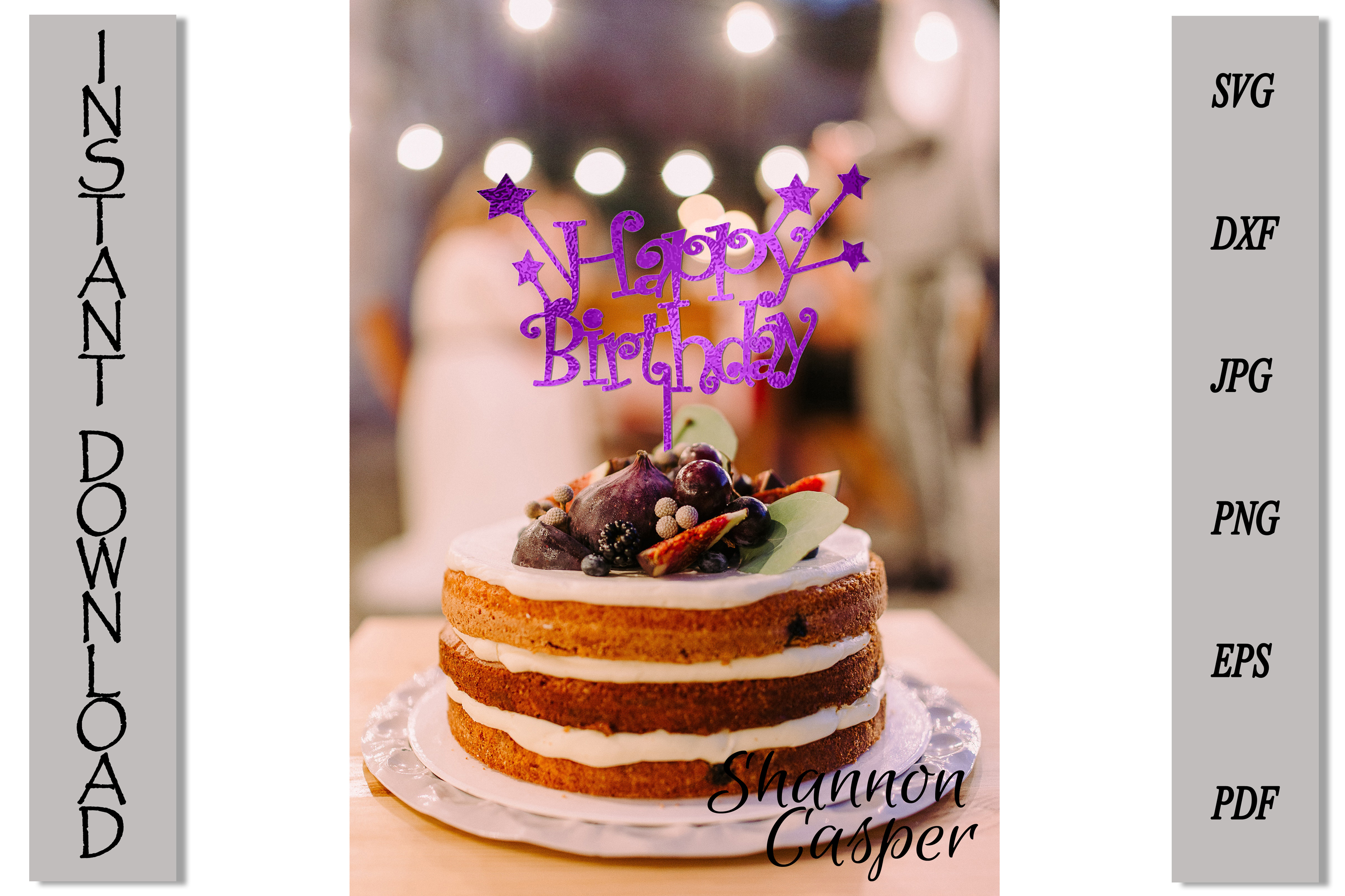 Happy Birthday Cake Topper with Stars example image 6