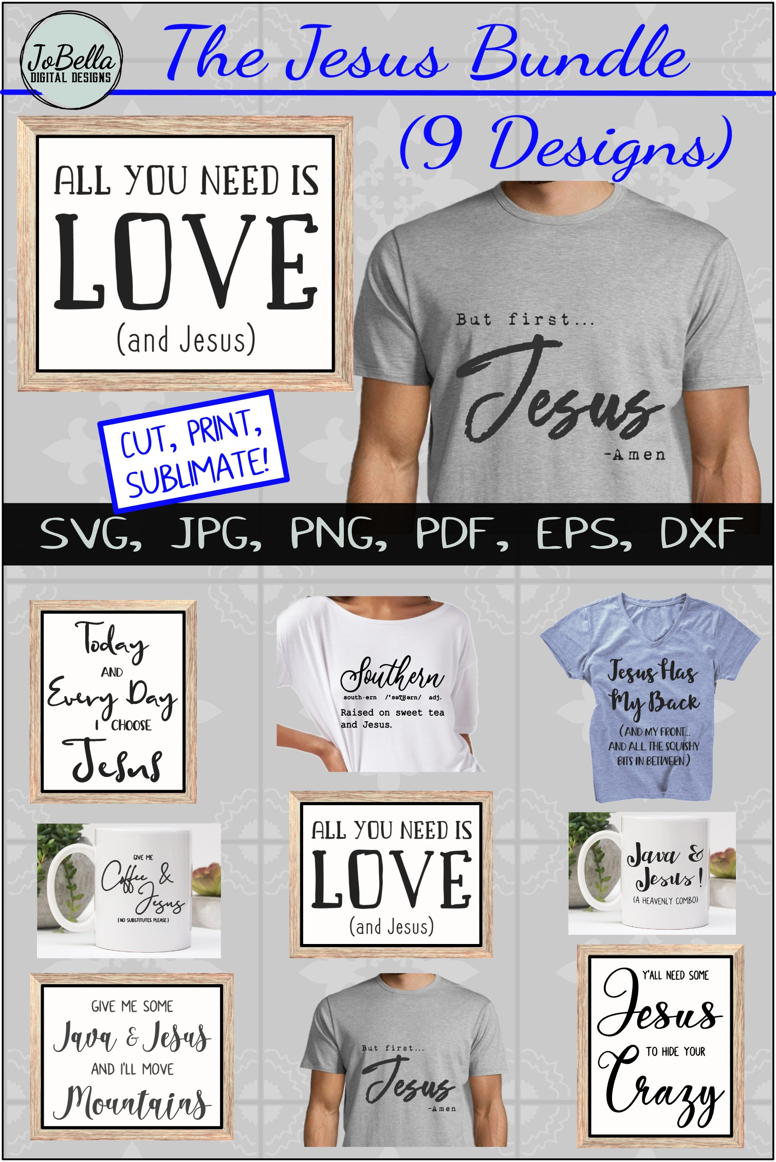 The Jesus SVG Bundle, Sublimation PNGs, and Printables example image 11