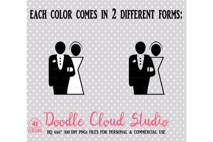 2 Colorful Wedding Clipart PNG Bride and Groom icons Wedding Party planner stickers with Transparent Background Personal & Commercial Use example image 2