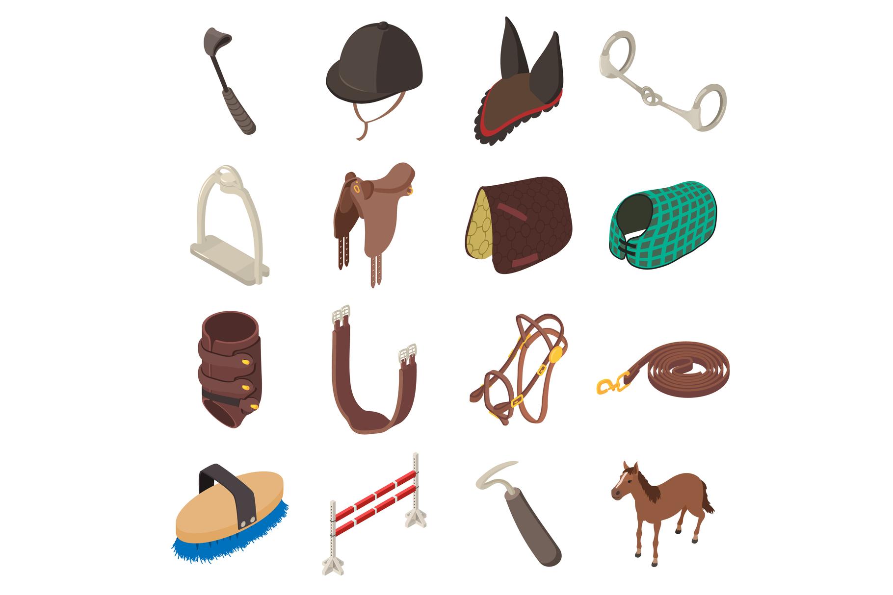 Horse sport equipment icons set, isometric style example image 1