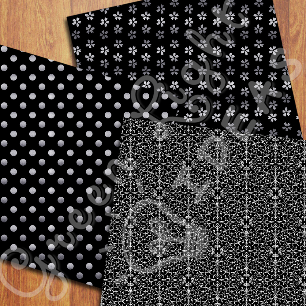 Black and Silver Digital Papers example image 3