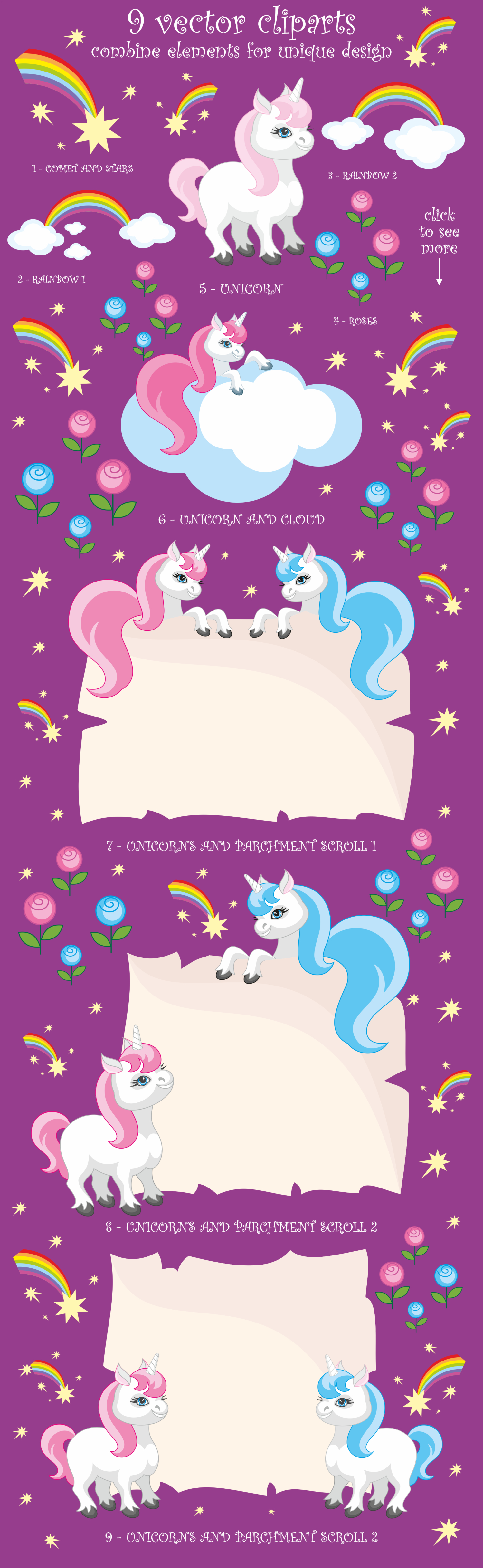 Little unicorns. Vector clip arts and patterns. example image 2