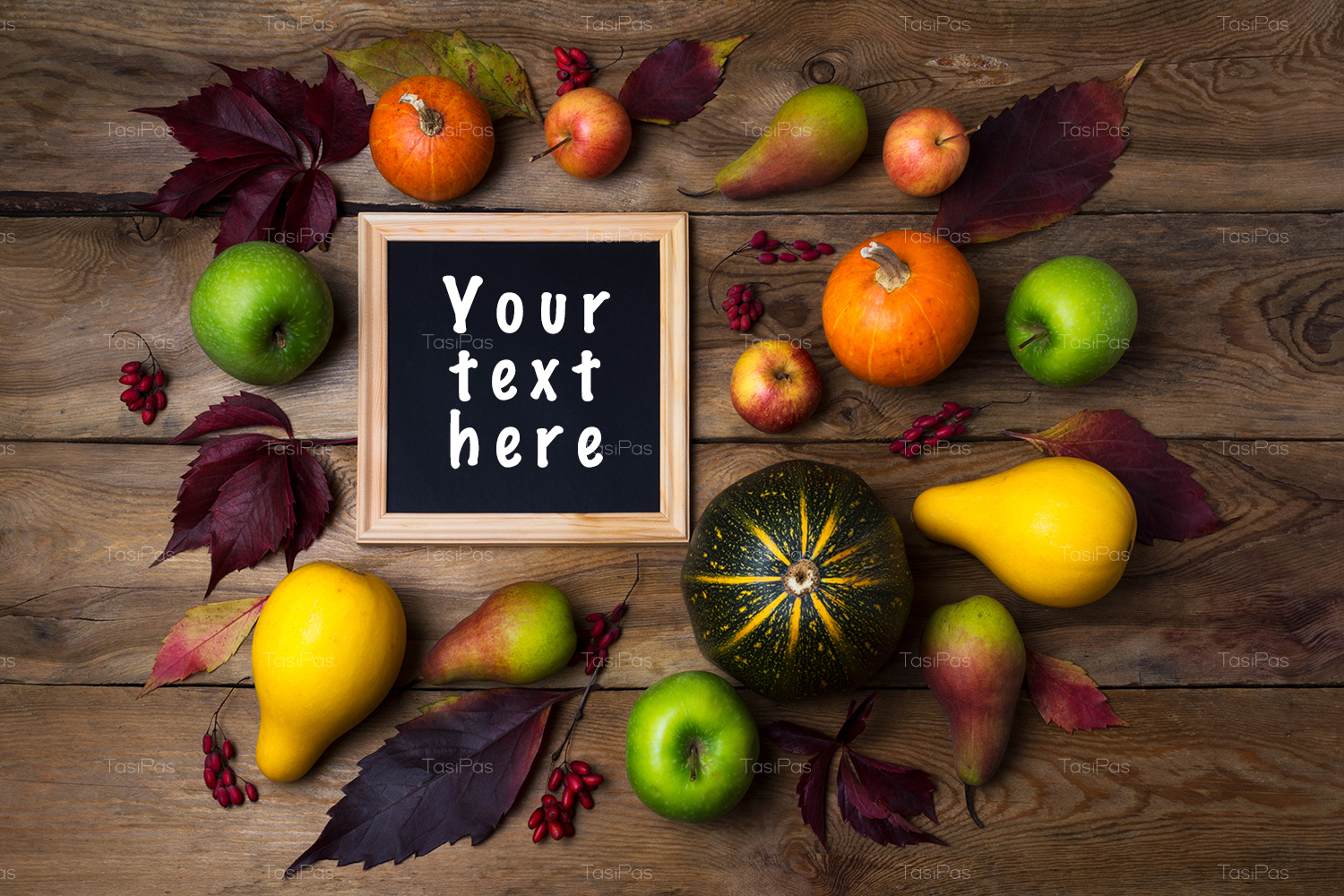 Rustic square frame mockup with pumpkins, pears example image 3