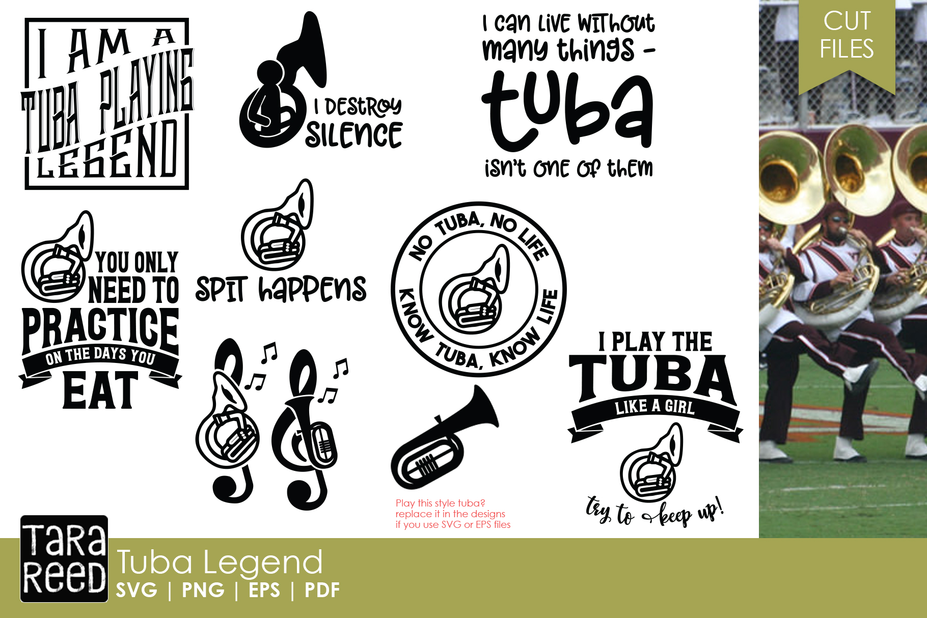 Tuba Legend - Tuba SVG & Cut Files for Crafters example image 1