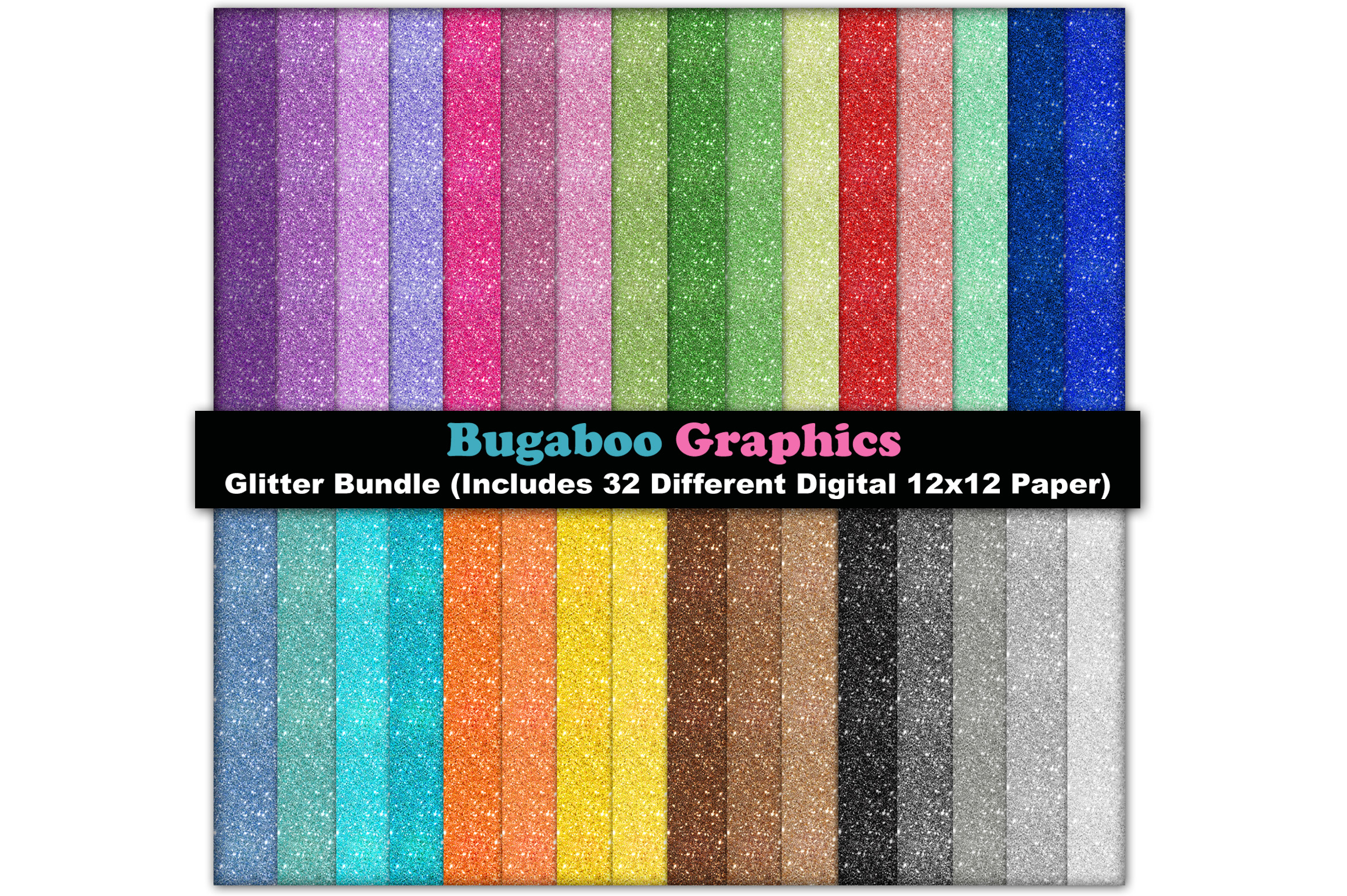 Glitter Digital Scrapbook Paper Bundle - 32 Digital 12x12 example image 1