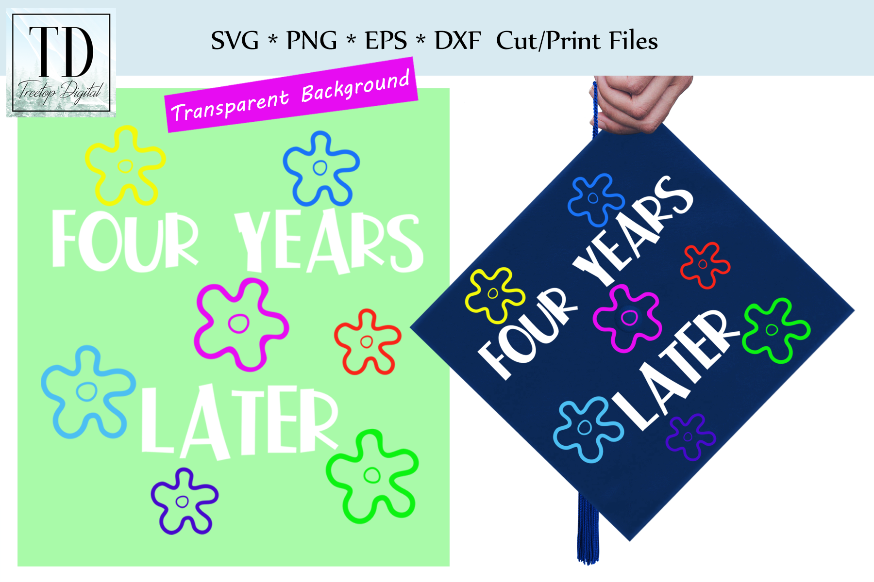 Graduation Cap Design - Four Years Later- A Mortar Board SVG example image 1