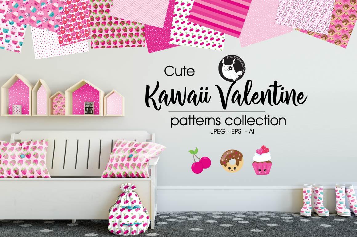 KAWAII-VALENTINE , digital papers example image 1