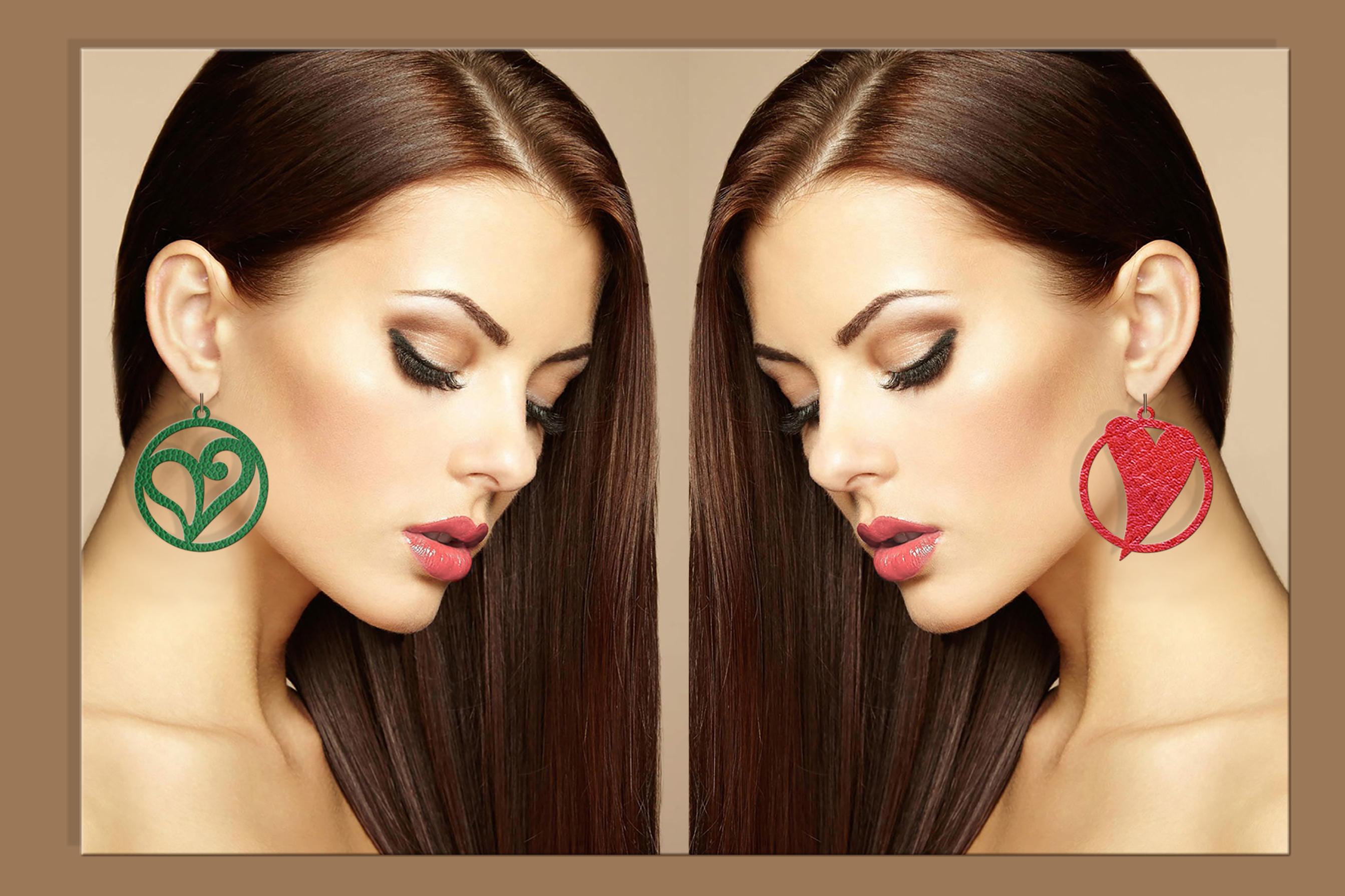 50 Leather earring bundle svg Valentine Love svg Heart example image 10