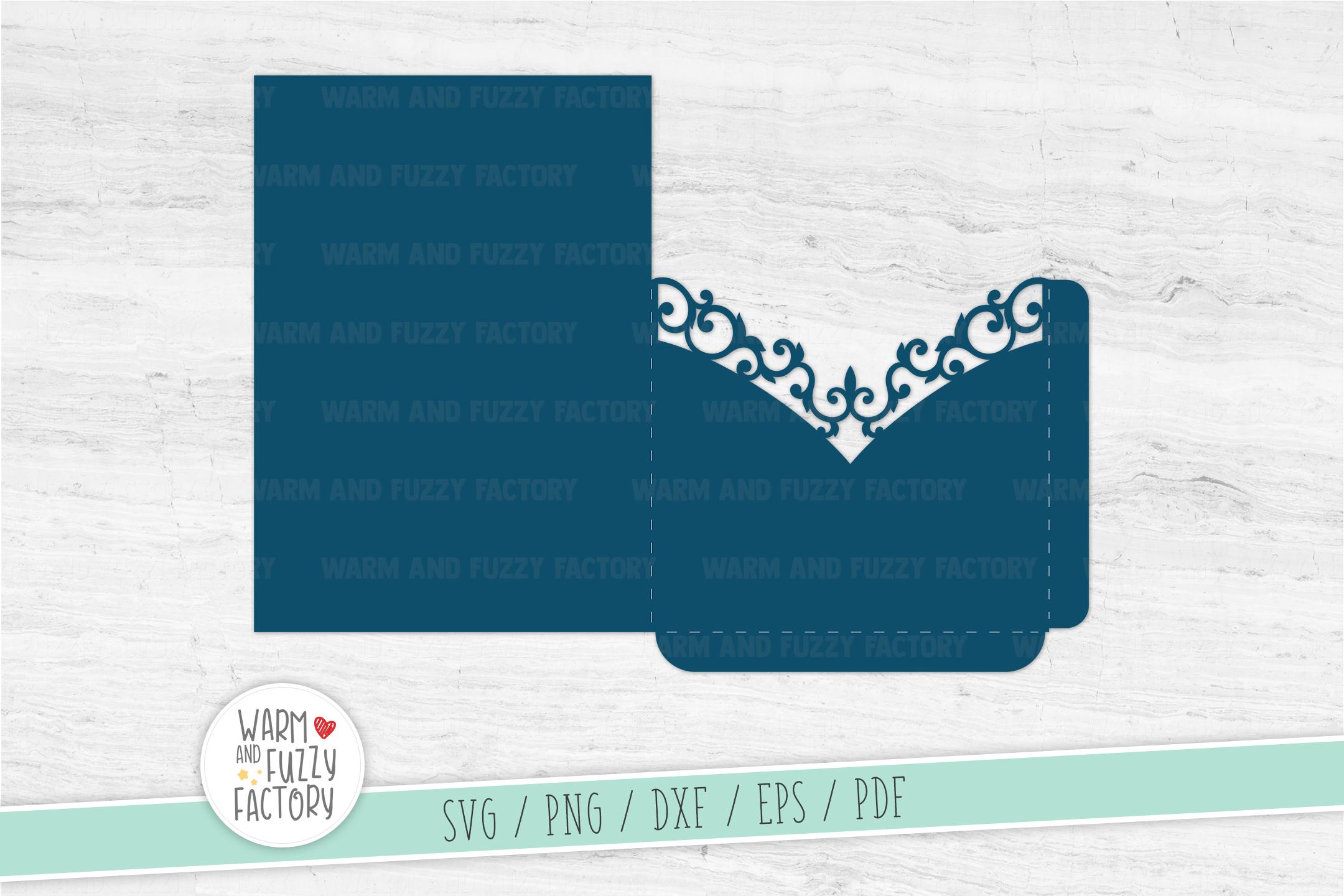 Wedding Invitation Pocket Envelope Template 5x7 cut file example image 2
