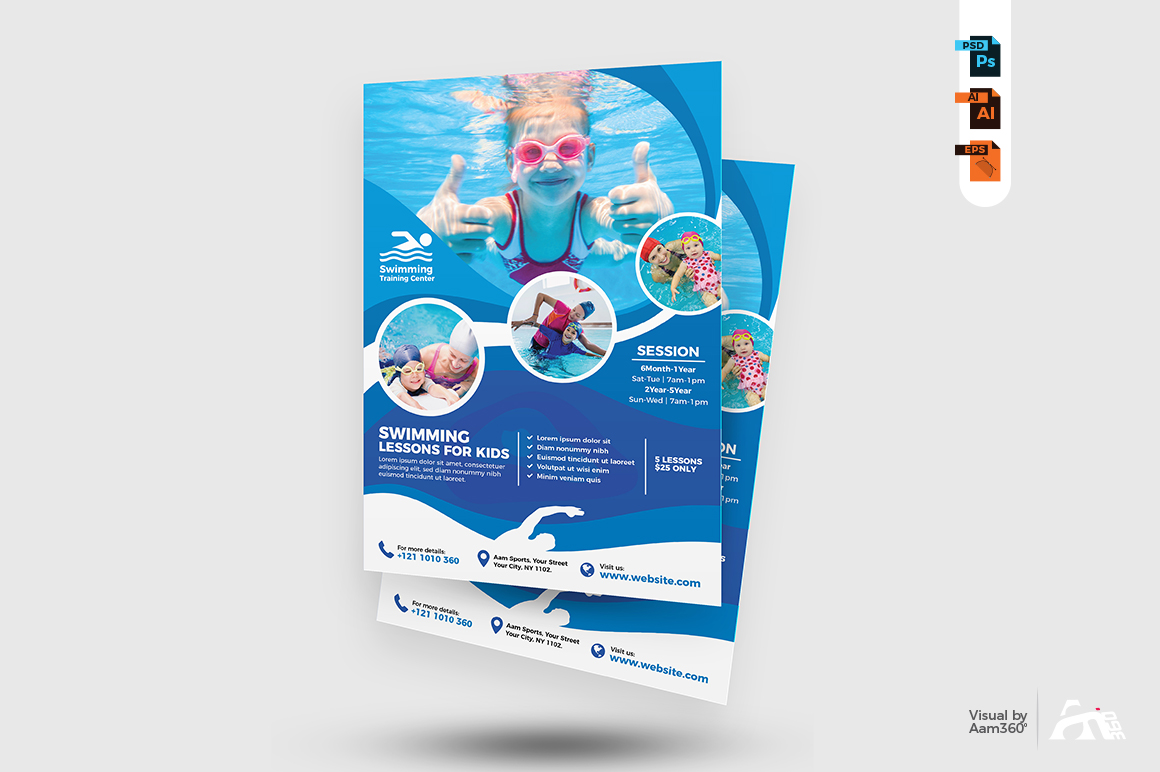 Kids Swimming Lessons Flyer example image 2