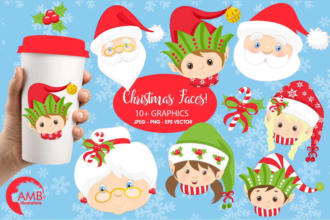 Santa, Mama Claus, elves, snowmen faces  clipart, graphics, illustrations AMB-191 example image 1