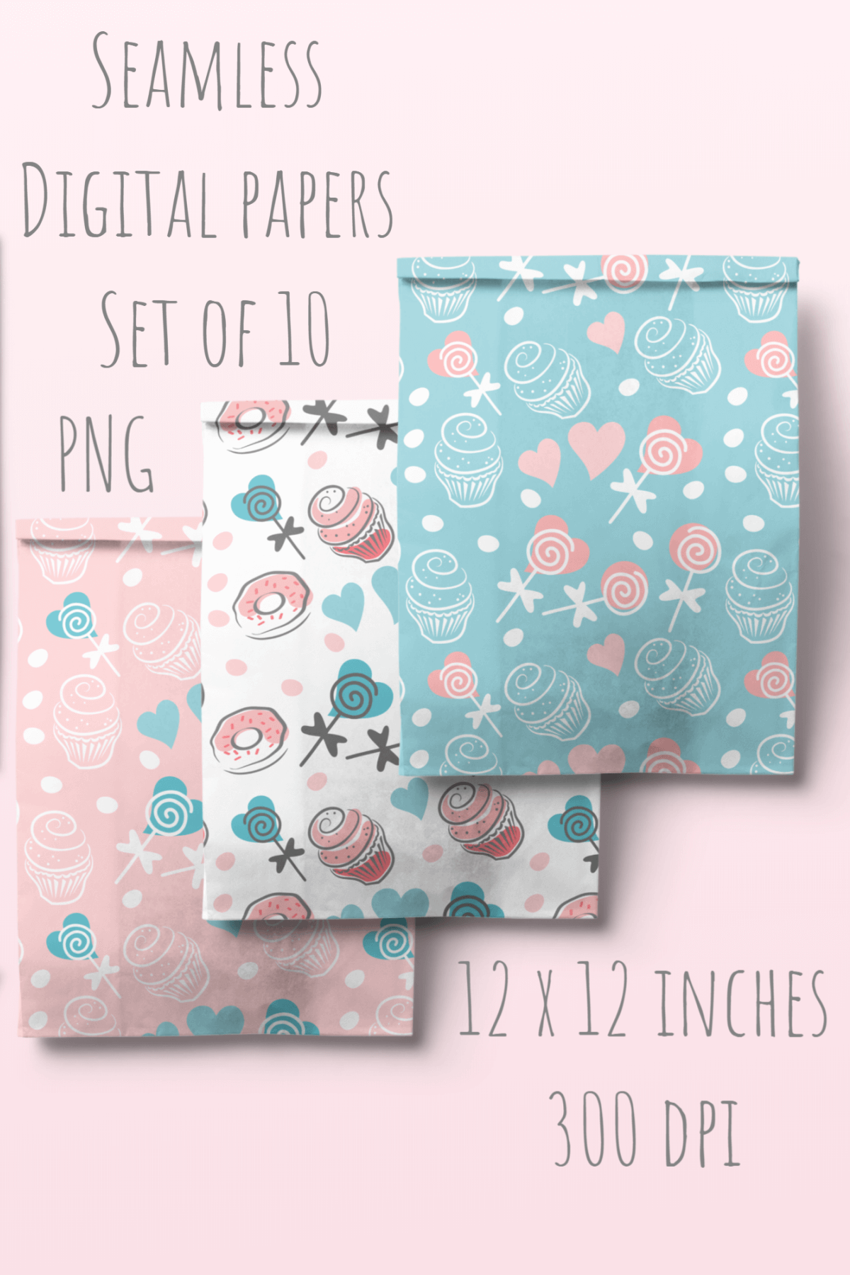 Cupcakes and Donuts Seamless Scrapbooking Papers 10 PNG file example image 9